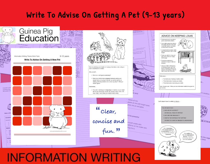 Practise Writing To Advise On Getting A Pet (Information Writing Work Pack) 9-14 years