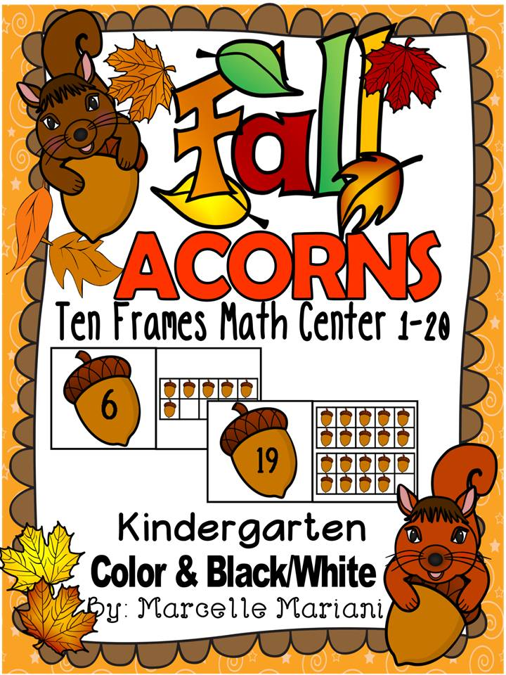Fall- ACORNS-TEN FRAME PUZZLES- 1-10 & 10'S AND 1'S- COLOUR+BW