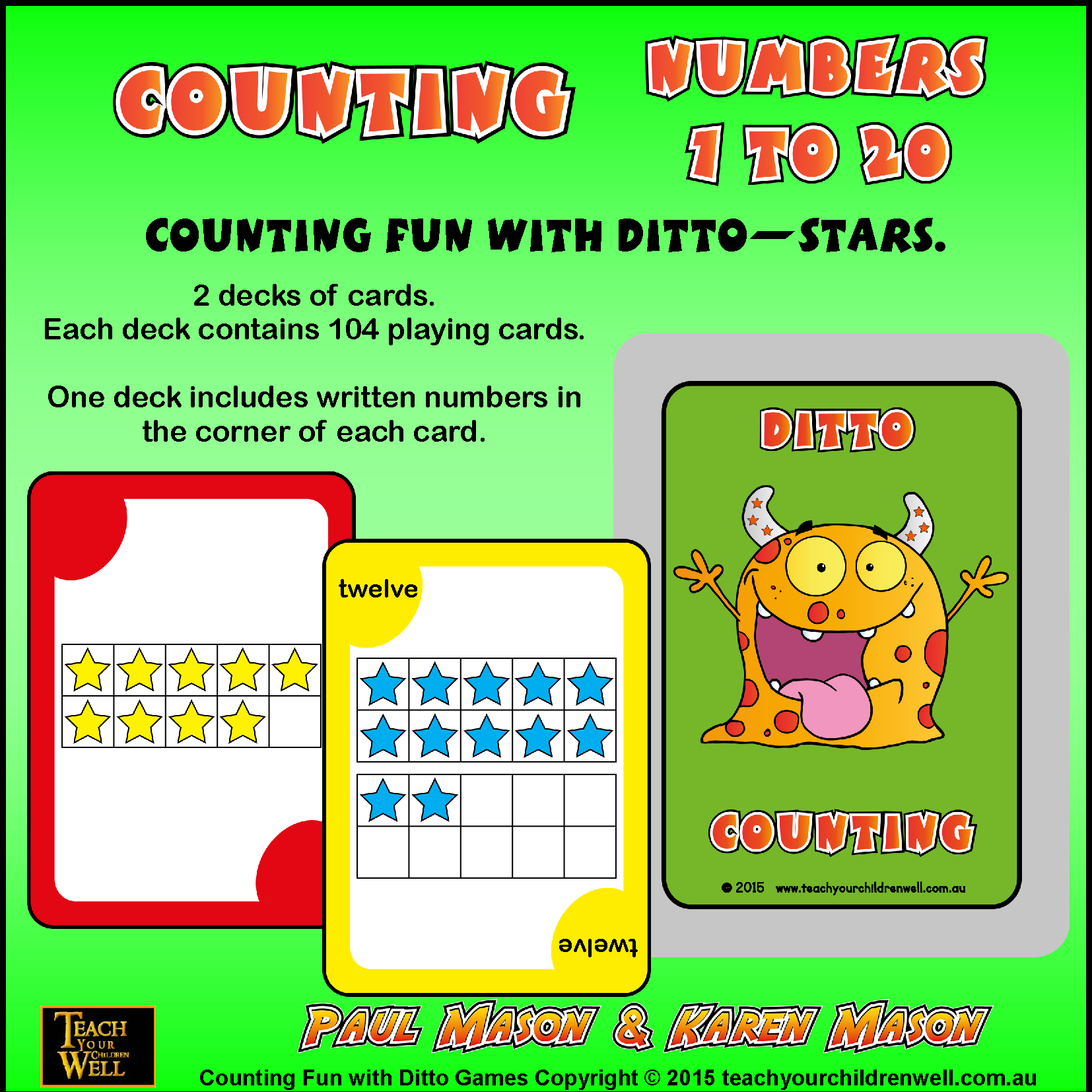 COUNTING NUMBERS 1 TO 20 WITH DITTO - STARS