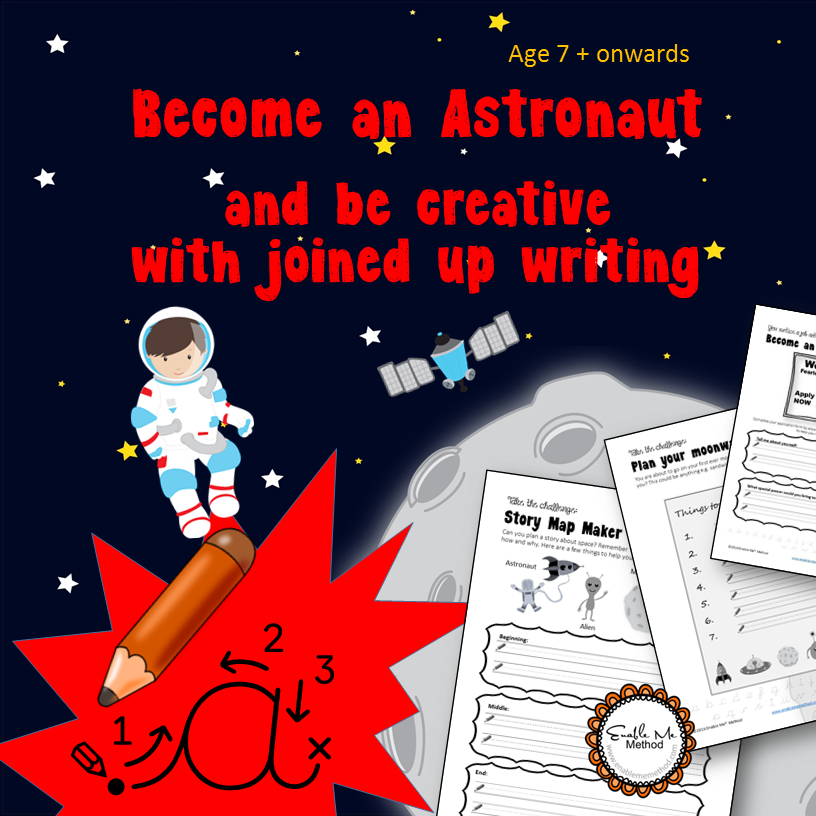 Become an astronaut and improve joined up writing: Space, 7 -11 yr, KS1 & KS2, Yr 3, Yr 4, Yr 5, Yr6